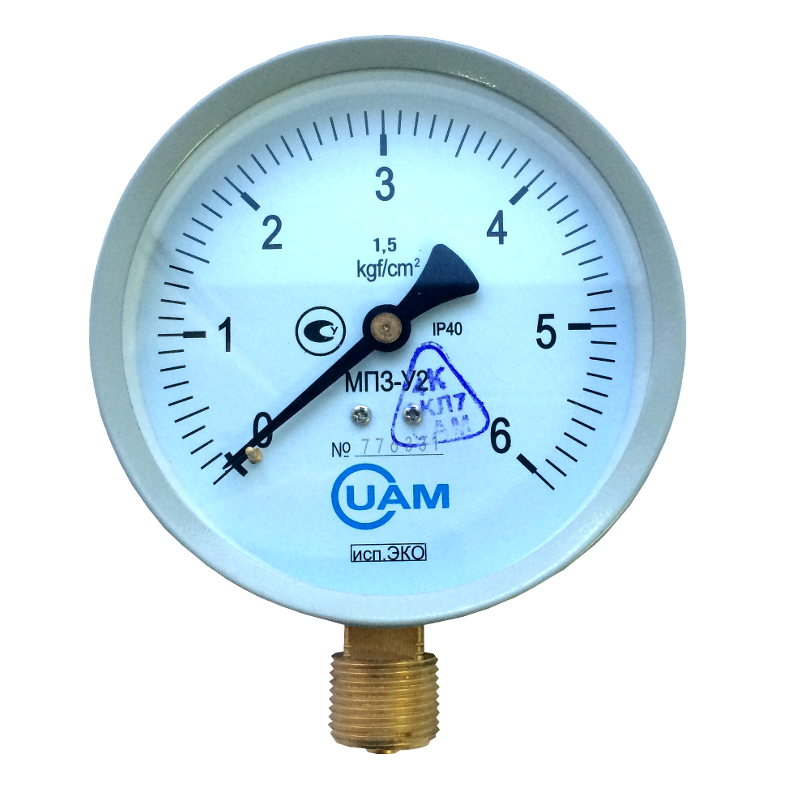 Манометр МП3-У2 (Эко) 6 кгс/см2-1,5-М20х1,5